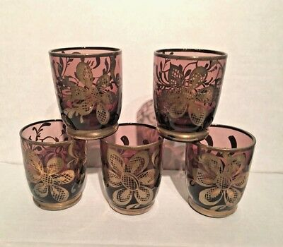 Murano Glass 5 Cordial Tot Glasses With Real 24Kt Silver Overlay On Purple 1960S