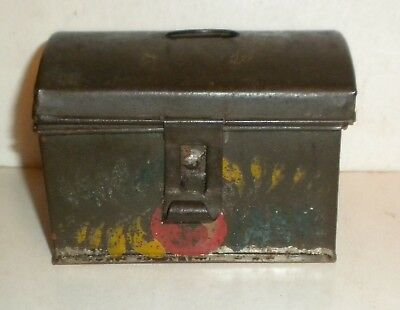 antique tin tiny document box tole painted toleware pa. found folk art