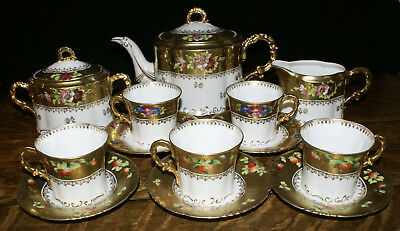 Exquisite Hand Painted & Enameled Heavily Gilded 19th Century Tea Set 18 Pieces
