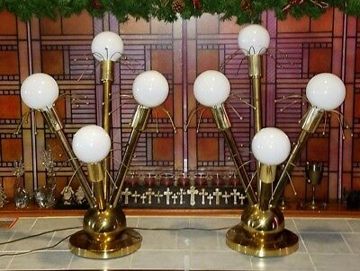 RARE 50's Vintage ATOMIC Retro MID CENTURY Brass TABLE Lights SPUTNIK Lamp Pair
