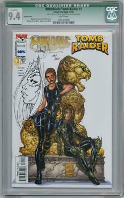 Witchblade Tomb Raider Cgc 9.4 Signed Michael Turner Remarked Sketch Oa Jay Coa