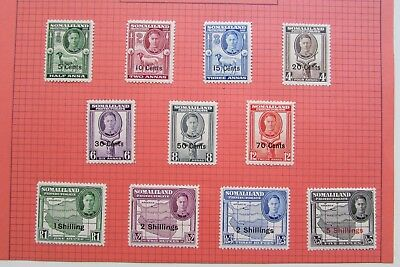 XL3857: Somaliland Protectorate (1951).  Complete KGVI Mint Stamp Set to 5/-