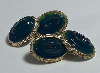 RARE Antique French Carved Bloodstone Cufflinks in 18k Gold