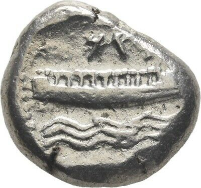 Lanz Phoenicia Arados Stater Deity Galley Rowers Waves Silver Greek §ro84
