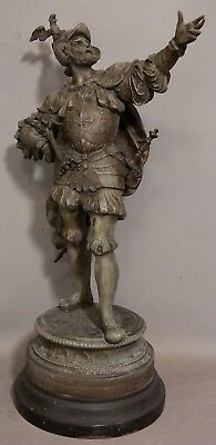 LG Antique 19thC Victorian MEDIEVAL Castle KNIGHT in ARMOR SCULPTURE Old STATUE