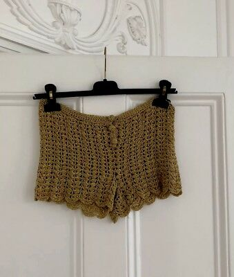 Vintage Scallopped Hotpants Shorts 70s Gold Party