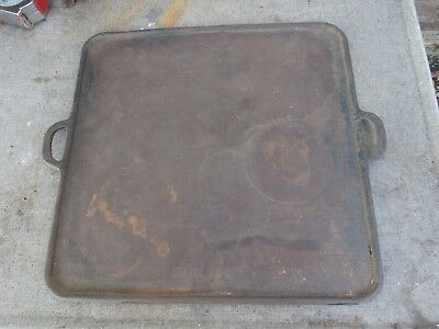 "Large Antique 17"" Square Cast Iron  Griddle"