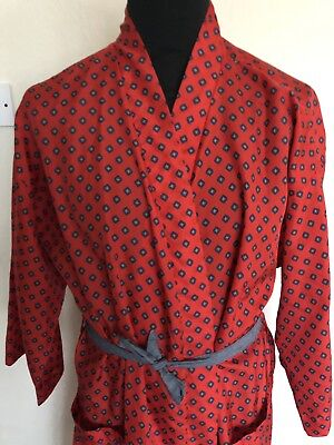 "St Michael (L) 44""-46"" Mens Vintage Silky Red Diamond Pattern Dressing Gown Vgc"