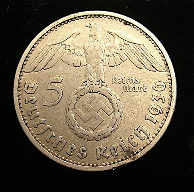 WW2 German 3rd Reich Silver 5 Marks Coin---1936-A------free ship