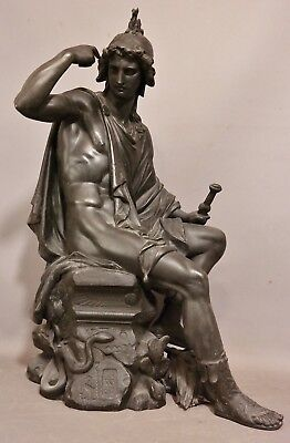 LG Vintage MYTHOLOGICAL GOD Bronzed GREEK Mythology MAN Sculpture MANTEL STATUE
