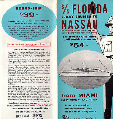 P&O Steamship Co 1959 Brochure 3-day Cruises to Nassau SS Florida Deck Plans