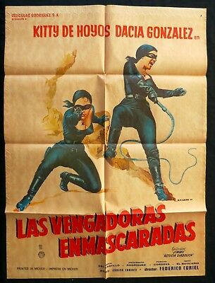 LAS VENGADORAS ENMASCARADAS 1962 Kitty de Hoyos MEXICAN MOVIE POSTER Zorro