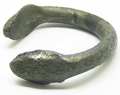 2nd - 3rd century A.D. Excavated Roman Silver Finger Ring Healing Snake of Salus