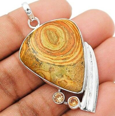 SAHARA PICTURE JASPER 925 Solid Sterling Silver Pendant Jewelry , H9-6