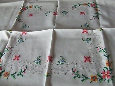 Small Vintage  Hand Embroidered White Cotton Table Cloth.