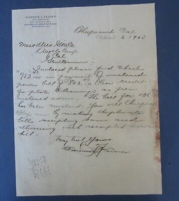 Old 1905 - Clarence Feusier - SHEEPRANCH CA. - Letterhead - Utica MINE - MINING