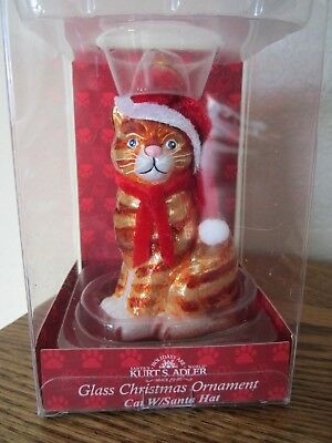 Pet Parade Orange Tabby Cat Glass Christmas Ornament Santa Hat Kurt Adler / NIB