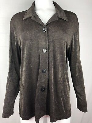 c8812789 Market by Chico's Women's button down shirt Blouse Size 1 Brown Long Sleeve  top