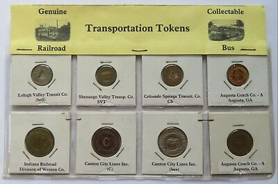 8 Transit Tokens, Indiana RR, Canton City Lines, Augusta Coach Co,Lehigh Valley+