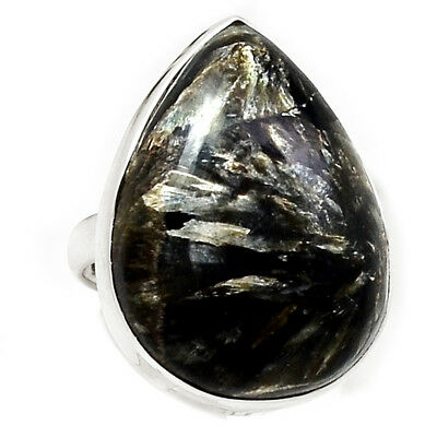 Rare Black Golden Seraphinite From Serbia 925 Silver Ring Jewelry s.6 RR204496