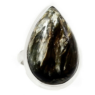 Rare Black Golden Seraphinite From Serbia 925 Silver Ring Jewelry s.6 RR204503