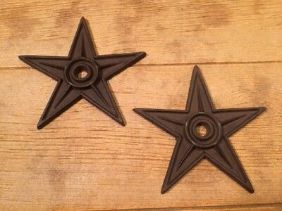 """Center Hole Texas Star Rustic Cast Iron X-Large Decor 9"""" (Set of Two) 02105"""