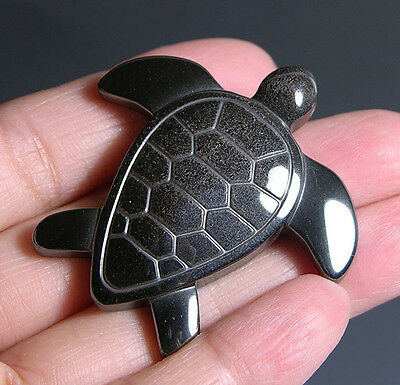 "1.7"" Gorgeous Hematite Crystal Carving Sea Turtle Pendant Gift *5718"