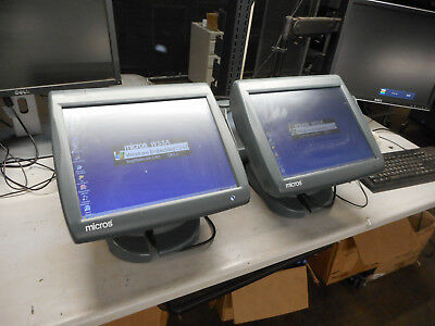 Lot of 2 Micros Workstation 5A System 2-400814-101 Touch Screen - With Stand