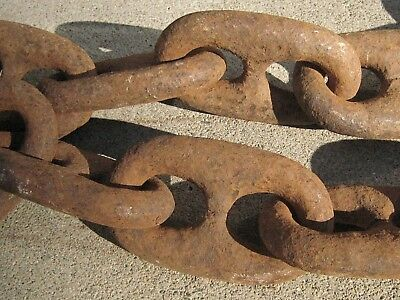 8+ Ft. Navy SHIP'S ANCHOR CHAIN Huge Links - HEAVY IRON Mare Island Ca. SALVAGE