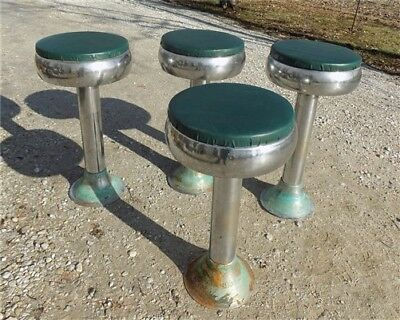 4 Retro Bar Diner Stools Chrome Soda Fountain Store Mid Century 50s 60s 70s g
