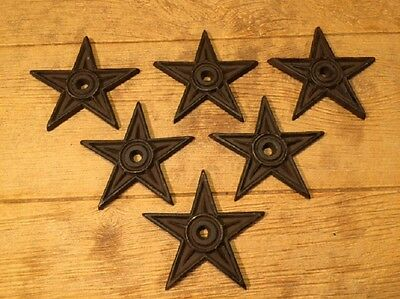 "Cast Iron Star - Center Hole Large 6 1/2"" wide (Set of Six) 0170-02106"
