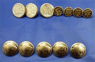 7 Early Nickel Plate Railroad Buttons & 5 Buffalo Nickel Buttons   # 453