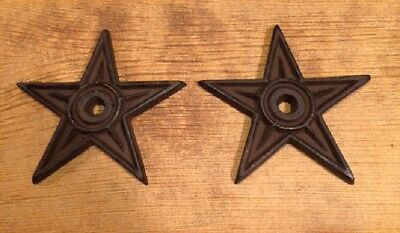 """Cast Iron Center Hole Texas Star Rustic Large 6 1/2"""" wide (Set of Two) 02106"""