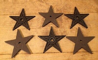 "Cast Iron Center Hole Texas Star Rustic Large 6 1/2"" wide (Set of Six) 02106"
