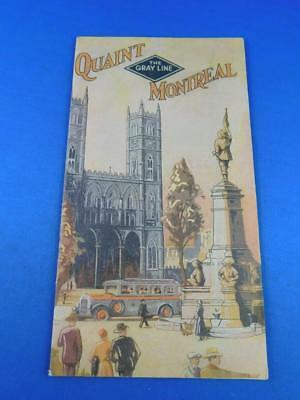 The Gray Line Advertising Brochure Booklet Quaint Montreal Bus Travel Route Map