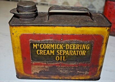 Antique Vintage McCORMICK DEERING CREAM SEPARATOR OIL CAN ADVERTISING TIN CAN IH