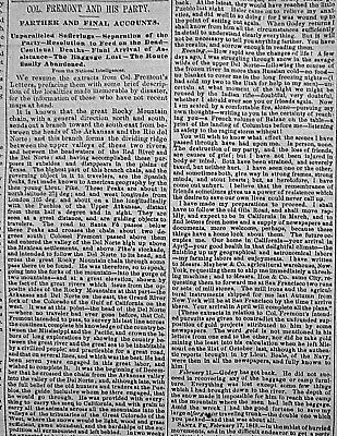 FREMONT EXPEDITION -GUIDES & ROUTES Indepth 1849 Newspaper SHAKERS AT WATERVLIET