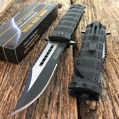 TAC FORCE Black Spring Assisted Open SAWBACK BOWIE Tactical Rescue Pocket KnifeZ