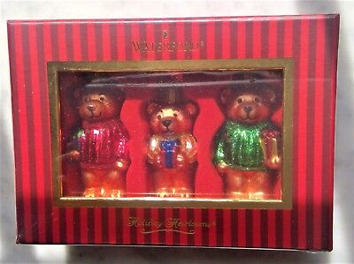Set of 3 Waterford Holiday Heirlooms Teddy Bear Ornaments Glass New Unopened Box