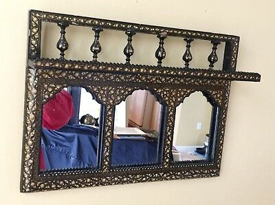 Antique PERSIAN ISLAMIC Hand Painted Mirror Shelf Middle Eastern NICE