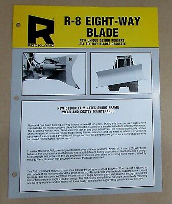 Rockland R-8 Eight-Way Front Mounted Blade Vintage Single Page Flyer FREE S/H