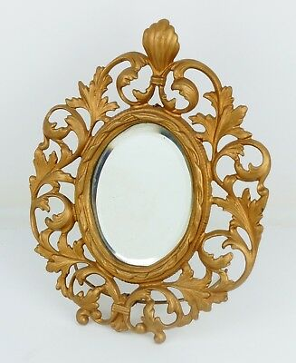 Antique/Vintage Ornate Gold-Tone Cast Metal Framed Bevel Mirror w/ Easel Stand