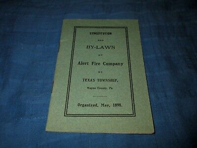 Alert Fire Company-Texas Township-Wayne County, Pa-Vintage B Y-Laws Booklet