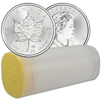 2019 Canada Silver Maple Leaf - 1 oz - $5 - 1 Roll - Twenty-five 25 BU Coins