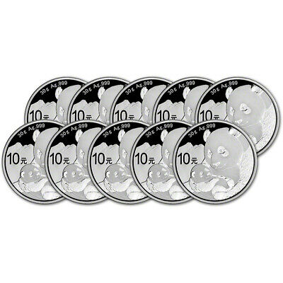 2019 China Silver Panda 30 g 10 Yuan - BU in Original Capsule - Ten (10) Coins