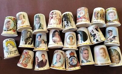 Collection of 23 Thimbles of the Queen of England and British Royalty