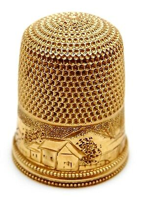 Vintage SIMONS BROS. Solid 14k Yellow Gold Sewing Thimble with Case