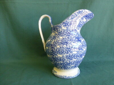 Antique Blue and White Sponge Ware Pottery Large Pitcher