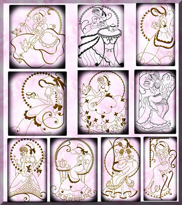 Tea Time Ladies Gold 10  Machine Embroidery Designs Cd 5 Sizes
