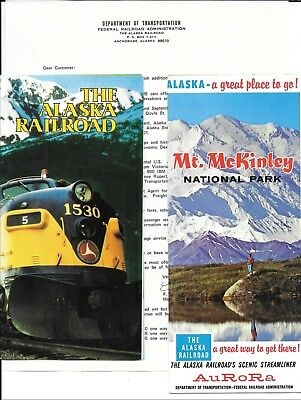 Alaska Railroad Letter and Two Travel Brochures - The ARR and Mt. McKinley -70's